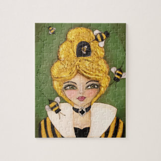 Whimsical Bee Hive Hair Girl Black Yellow Green Jigsaw Puzzle