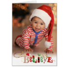 Whimsical BELIEVE, 3 Photo, Holiday Letter Option Card