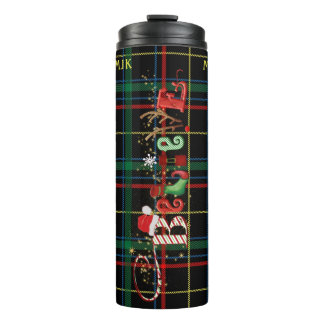 Whimsical BELIEVE, Black Plaid, Personalized Thermal Tumbler