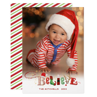 Whimsical BELIEVE, Gold Sparkle, White - 1 Photo Card