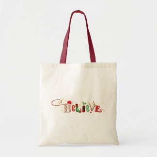 Whimsical BELIEVE, Gold Sparkles Christmas Tote Bag