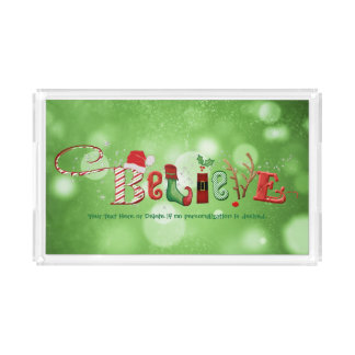Whimsical BELIEVE, Green Bokeh Acrylic Tray