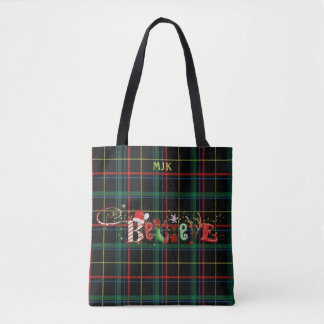 Whimsical BELIEVE on Black Plaid, Personalized Tote Bag