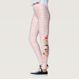 Whimsical BELIEVE on Pastel Red Houndstooth Leggings