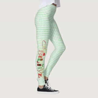 Whimsical BELIEVE on Wintergreen Houndstooth Leggings