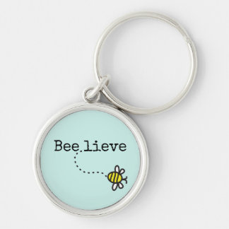 "Whimsical ""Believe"" Quote Bumble Bee Key Ring"