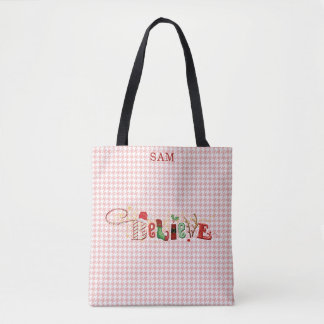 Whimsical BELIEVE, Red Houndstooth Pattern Tote Bag