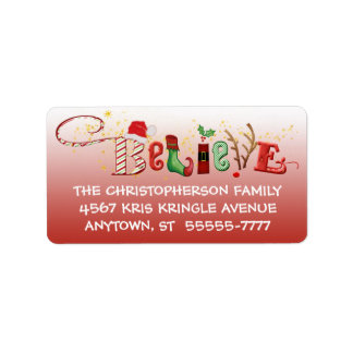 Whimsical BELIEVE, Red Ombre, Gold Sparkle Label