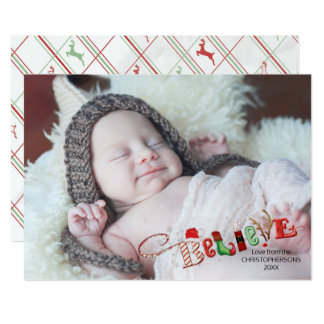 Whimsical BELIEVE, Silver Sparkle Accent - 1 Photo Card