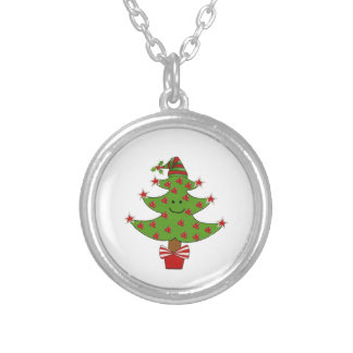 Whimsical Berry Tree Round Pendant Necklace