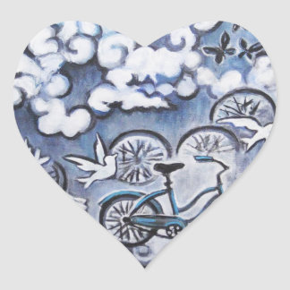 Whimsical Bicycle Painting Products Heart Sticker