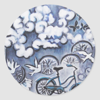 Whimsical Bicycle Painting Products Round Sticker