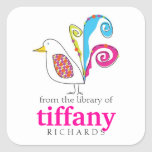 Whimsical Bird Book Plates Square Sticker