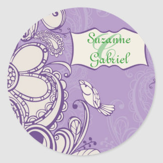 Whimsical Bird Monogram Classic Round Sticker