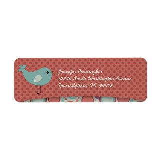 Whimsical bird polkadots return address labels