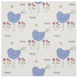 Whimsical Birds and Bees Custom Fabric