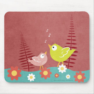 Whimsical Birds and Flowers Mousepad / Mouse Mat