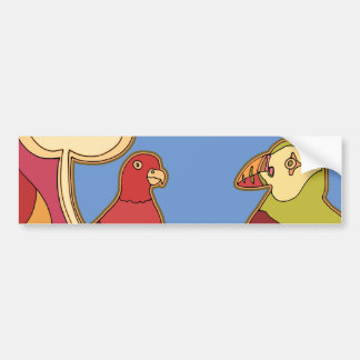 Whimsical Birds (Any color you pick!) Bumper Sticker