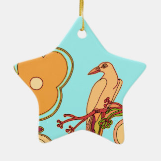 Whimsical Birds (Any color you pick!) Ceramic Star Decoration