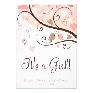 Whimsical Birds It's a Girl Baby Shower Invitation