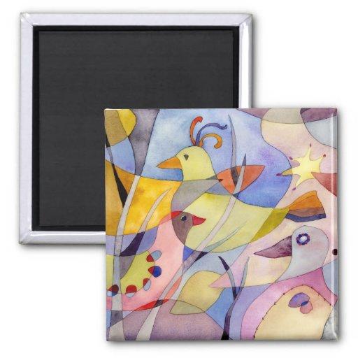 Whimsical Birds Magnet