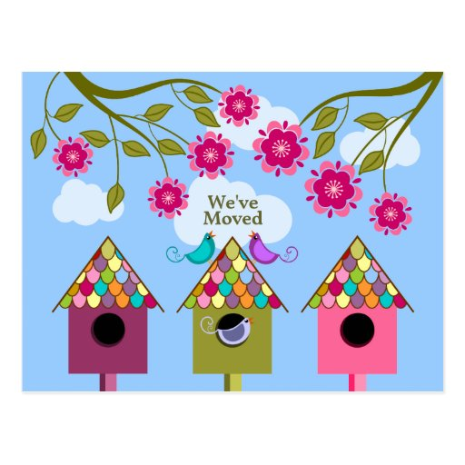Whimsical Birds Moving Announcement Postcard