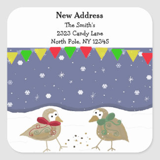 Whimsical Birds New Address Square Sticker