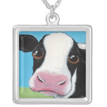 Whimsical Black and White Cow Art Pendant