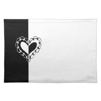 Whimsical Black and White Heart Wedding Placemat