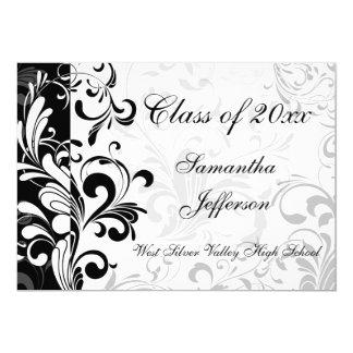 Whimsical Black and White Swirl Graduation Card