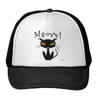 Whimsical Black Cat Meow Trucker Hats