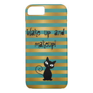 Whimsical  Black Cat,Striped-Wake up and makeup iPhone 8/7 Case