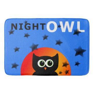 Whimsical Black Owl Sitting on the Moon Bath Mat