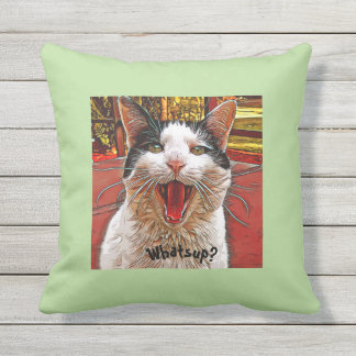 Whimsical Black White Cat Mouth Wide Open WHATS UP Outdoor Cushion