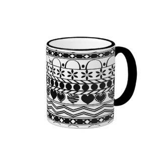 Whimsical black white horizontal striped patten mugs