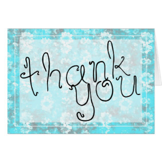 Whimsical Blue and White Floral Thank You Card