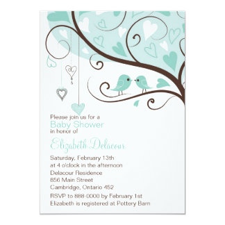 Whimsical Blue Birds Baby Shower Invitation