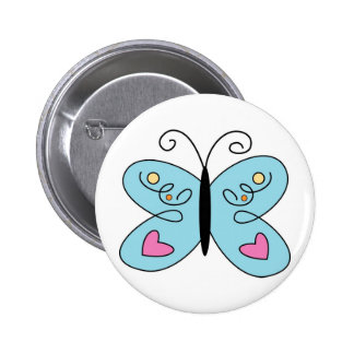 Whimsical Blue Butterfly with heart Wings 6 Cm Round Badge