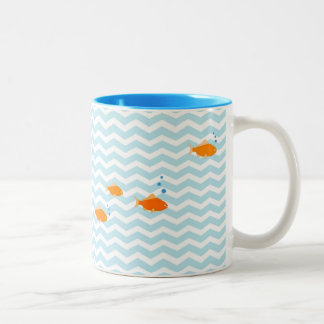 Whimsical Blue chevron with gold fish Two-Tone Mug