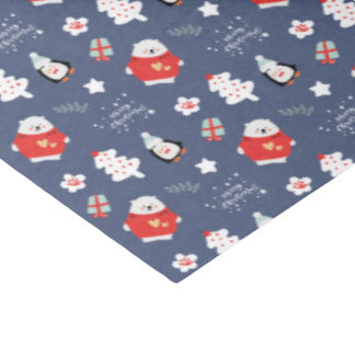 Whimsical Blue Christmas Critters Pattern Tissue Paper