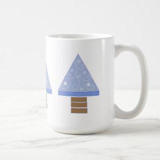 Whimsical Blue Christmas Trees Mugs