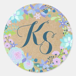Whimsical Blue Floral Wreath Kraft Paper Monogram Round Sticker