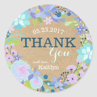 Whimsical Blue Floral Wreath Kraft Paper Thank You Round Sticker