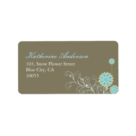 Whimsical Blue Snow Flower Wedding Address Labels
