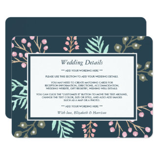Whimsical Botanical Berry Wedding Detail Insert Card