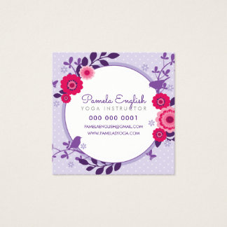 WHIMSICAL BOTANICAL pretty floral wreath purple Square Business Card