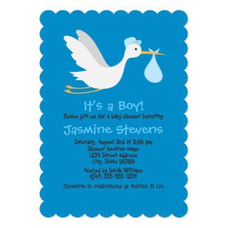 Whimsical Boy Stork Baby Shower 13 Cm X 18 Cm Invitation Card