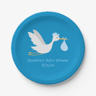 Whimsical Boy Stork Baby Shower 7 Inch Paper Plate