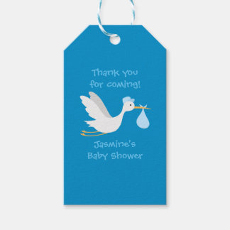 Whimsical Boy Stork Baby Shower Gift Tags