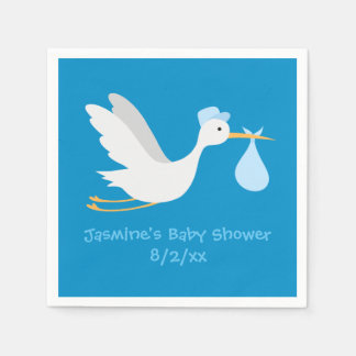 Whimsical Boy Stork Baby Shower Paper Napkin